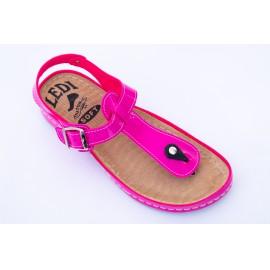Női bőr szandál pink csatos lábujjközti 702/L4