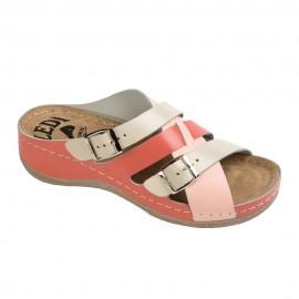 Női bőr papucs lazac-bézs-pink csatos 414/3