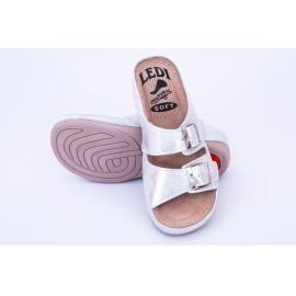 Női bőr papucs csillogó ezüst csatos 404/S1