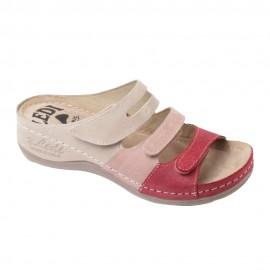 Női anatómiai bőr papucs 3 színű bézs-pink-meggy tépőzáras 432/4