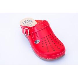 Női bőr klumpa piros gumis lábfej 552/24