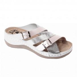 Női bőr papucs gyöngyház-ezüst-ezüstmintás csatos 414/S1